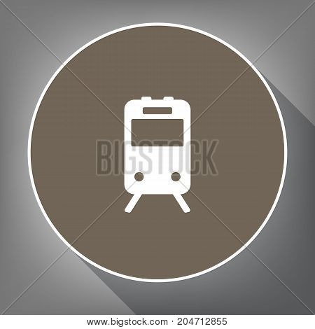 Train sign. Vector. White icon on brown circle with white contour and long shadow at gray background. Like top view on postament.