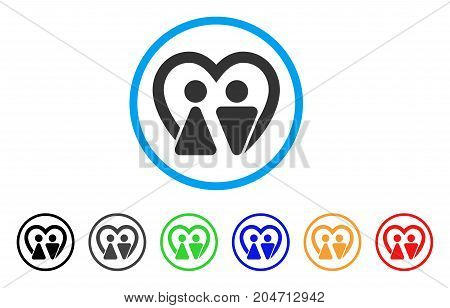 Marriage rounded icon. Style is a flat marriage gray symbol inside light blue circle with black, gray, green, blue, red, orange color versions. Vector designed for web and software interfaces.