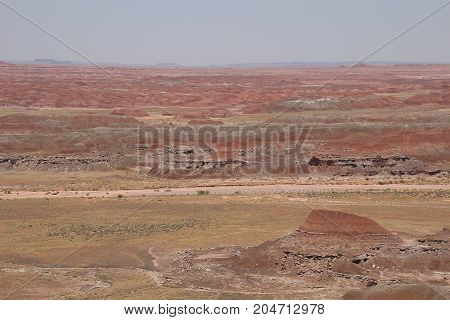 Mind blowing landscapes of the painted desert on a very hot summer day