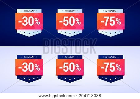 Set of sale badges on dark and white background. Can uses for special offers and sales you products with different discounts. Vector isolated illustration in two variants.