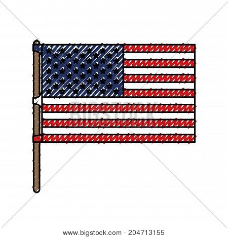 flag united states of america in flagpole and colored crayon silhouette vector illustration