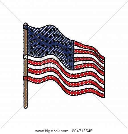 flag united states of america in flagpole waving side and colored crayon silhouette vector illustration