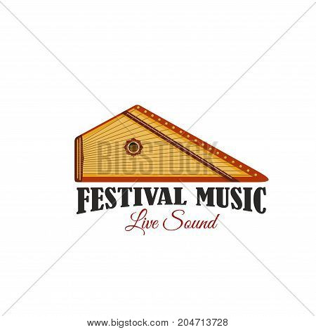 Music festival icon with folk musical instrument. Live music concert isolated symbol of ethnic stringed instrument, german zither or russian gusli for music entertainment and arts themes design