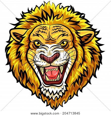 Vector illustration of angry lion head character