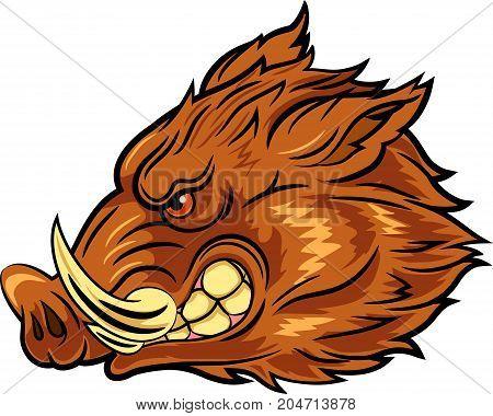 Vector illustration of head wild boar mascot