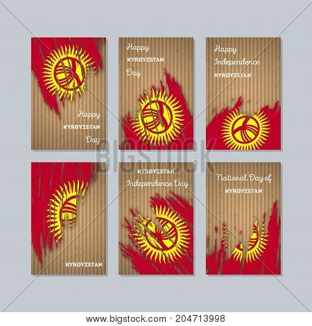 Kyrgyzstan Patriotic Cards For National Day. Expressive Brush Stroke In National Flag Colors On Kraf