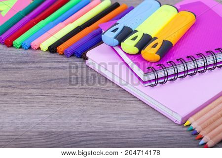 School  And Office Supplies On Wooden Background