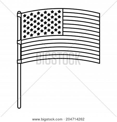 flag united states of america in flagpole waving monochrome silhouette vector illustration