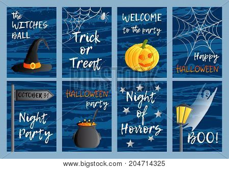 Vector set of eight postcards, invitations or banners. Halloween theme. Traditional holiday symbols and inscriptions. Jack-o-lantern, ghost, witch hat, cauldron. Abstract blots background.