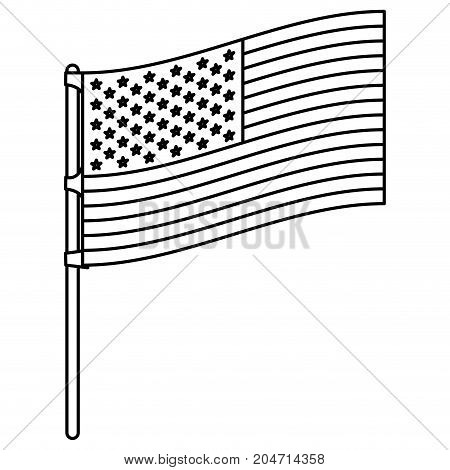 flag united states of america in flagpole to side in monochrome silhouette vector illustration
