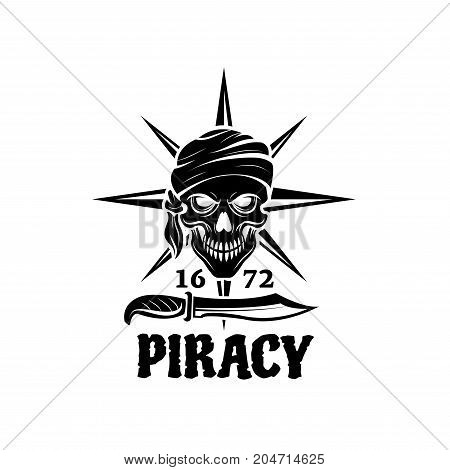 Skull of pirate in bandana icon. Head of dead pirate sailor with sword or knife and nautical compass rose on background for tattoo, piracy flag or t-shirt print design
