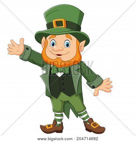 Vector illustration of cartoon happy leprechaun waving hand