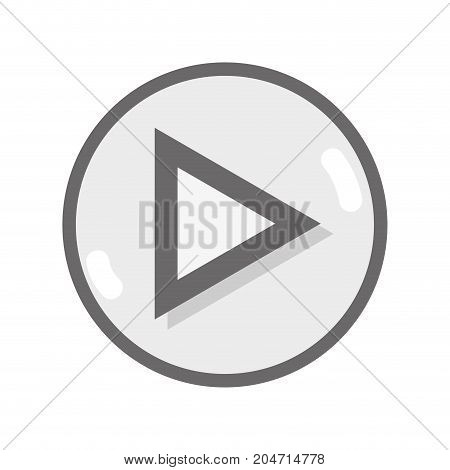 grayscale video media symbol to play film vector illustration