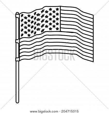 flag united states of america waving in flagpole and monochrome silhouette vector illustration