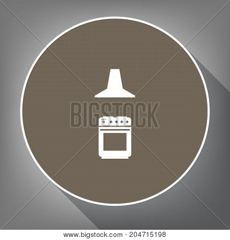 Electric or gas stove and extractor kitchen hood sign. Vector. White icon on brown circle with white contour and long shadow at gray background. Like top view on postament.