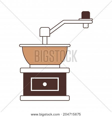 coffee grinding with crank silhouette color section on white background vector illustration
