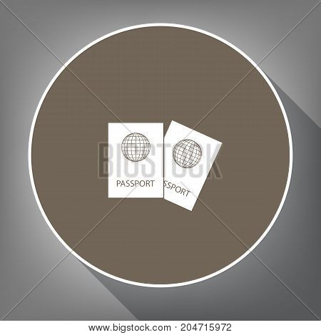 Two passports sign illustration. Vector. White icon on brown circle with white contour and long shadow at gray background. Like top view on postament.
