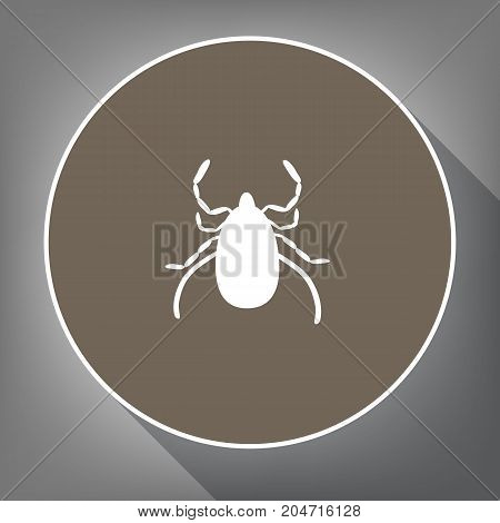 Dust mite sign illustration. Vector. White icon on brown circle with white contour and long shadow at gray background. Like top view on postament.