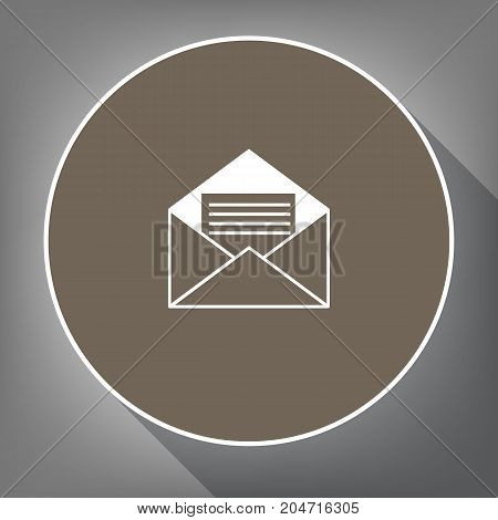 Letter in an envelope sign illustration. Vector. White icon on brown circle with white contour and long shadow at gray background. Like top view on postament.