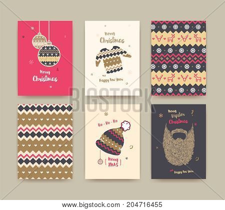 Merry Christmas greeting card set with cute winter hat sweater vintage beard christmas balls and christmas patterns golden colors