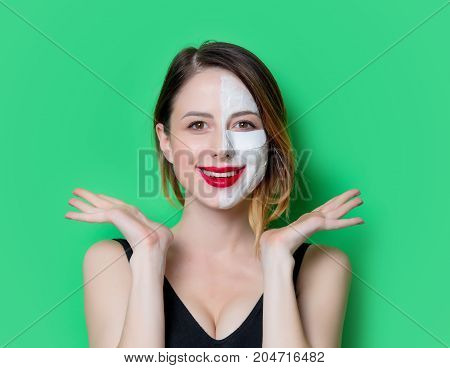 Woman Using Eye Patch For Her Eyes With Cream On Her Face