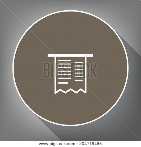Paying bills concept. Payment of utility, bank, restaurant and other bills sign illustration. Vector. White icon on brown circle with white contour and long shadow at gray background. Like top view on postament.