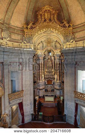 Oporto, Portugal - july 2016: Interior of Clerigos Church in Porto Portugal