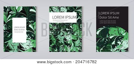 Tropic leaves vector covers set. Modern stylish texture covers design set. Eps10. -stock vector.