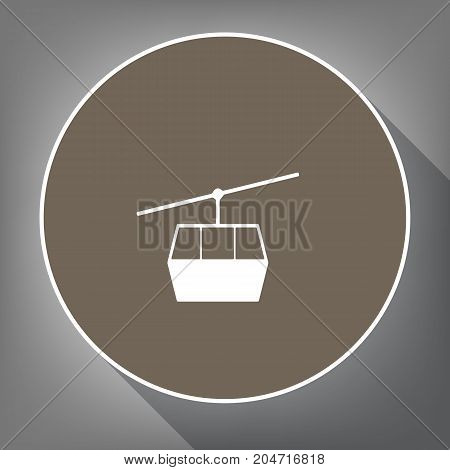 Funicular, Cable car sign. Vector. White icon on brown circle with white contour and long shadow at gray background. Like top view on postament.