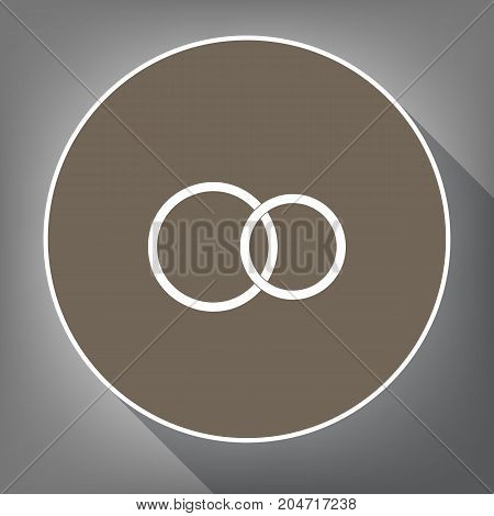 Wedding rings sign. Vector. White icon on brown circle with white contour and long shadow at gray background. Like top view on postament.