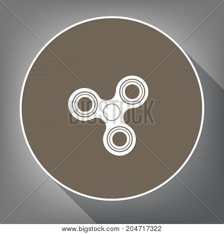 Fidget spinner sign. Vector. White icon on brown circle with white contour and long shadow at gray background. Like top view on postament.