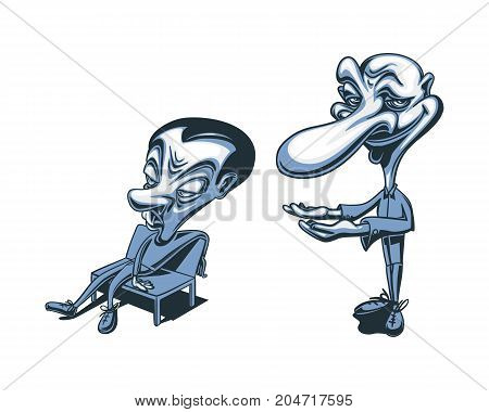 Cartoon Caricature Man Presenting Lazy Relaxing Useless Character Sitting Chair