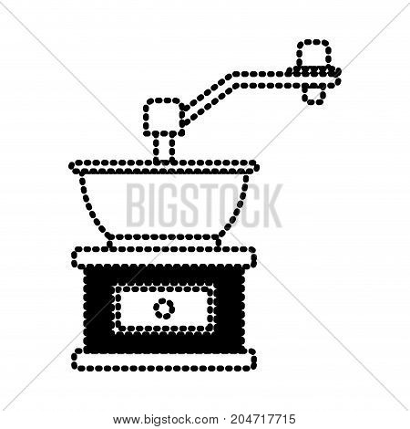 coffee grinding with crank silhouette dotted monochrome on white background vector illustration