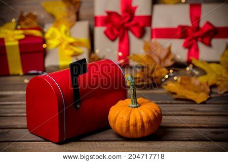 Leaves And Pumpkin With Halloween Gift Box And Postbox