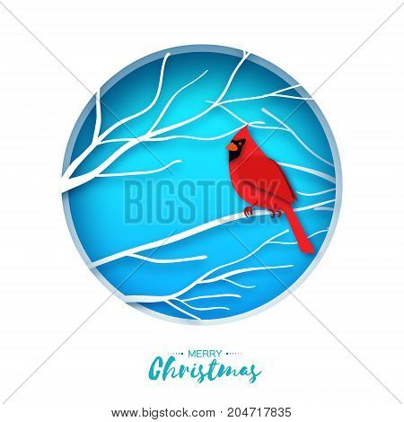 Red cardinal sitting on a branch. Merry Christmas Greeting Card.Bird sitting on a birches branch in paper cut style. Origami Fall winter. Happy holidays. Blue background. Vector illustration.