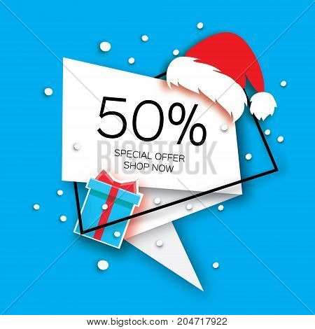 Modern Merry Christmas paper cut sale banner. Santa Claus Red Hat. Special offer, 50 percents discount. Origami Label tag. Shop now. Text. Happy New Year. Blue background. Vector illustration