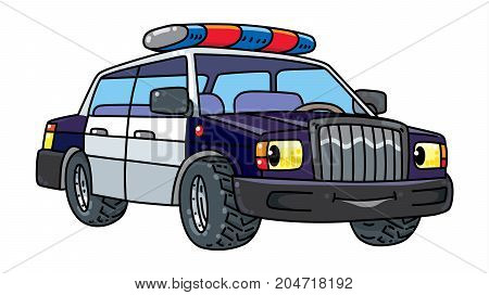 Police car. Small funny vector cute vehicle with eyes and mouth. Coloring book. Children vector illustration