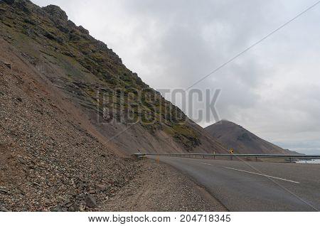 Road through hvalnesskridur landslides in east Iceland
