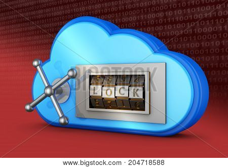 A blue cloud with a combination lock. 3d rendering.