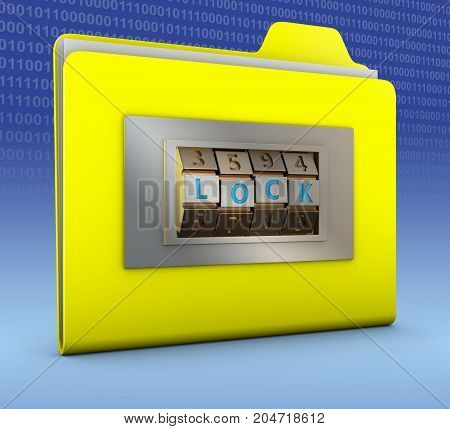 Yellow folder with combination lock. 3d rendering.