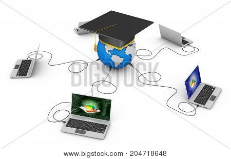 laptops and a globe with a graduate cap. 3d rendering.