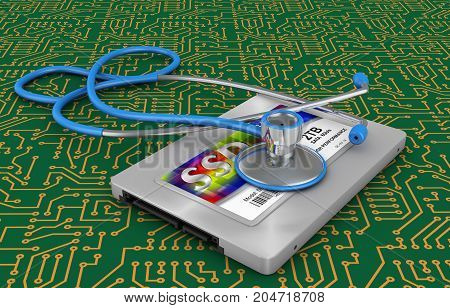 Hard disk type ssd and stethoscope. 3d rendering.