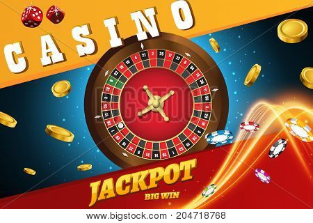 Vector illustration of casino roulette wheel with chips isolated on blue table with place for text
