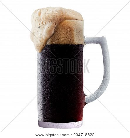 Mug of frosty dark beer with foam isolated on a white background