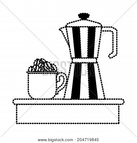 porcelain mug with pile coffee beans and metallic jar of coffee with handle silhouette dotted monochrome on white background vector illustration