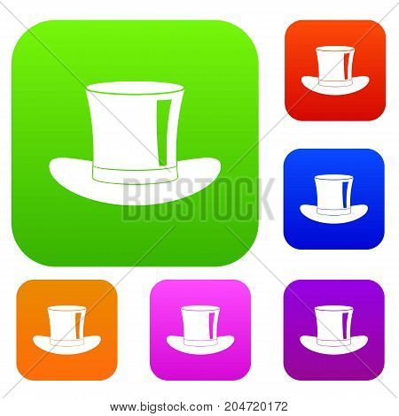 Silk hat set icon color in flat style isolated on white. Collection sings vector illustration