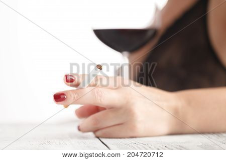 Woman With Glass Of Red Wine Flirting With Him