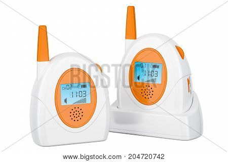 Audio baby monitor baby alarm. 3D rendering isolated on white background