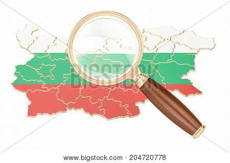 Bulgaria under magnifying glass analysis concept 3D rendering isolated on white background