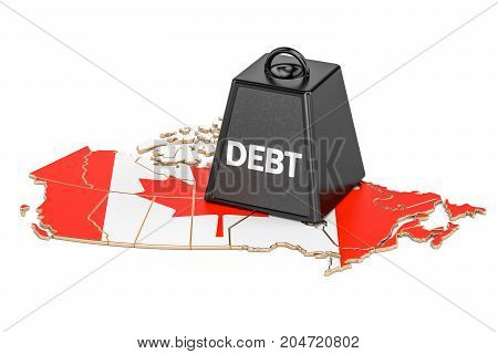 Canadian national debt or budget deficit financial crisis concept 3D rendering